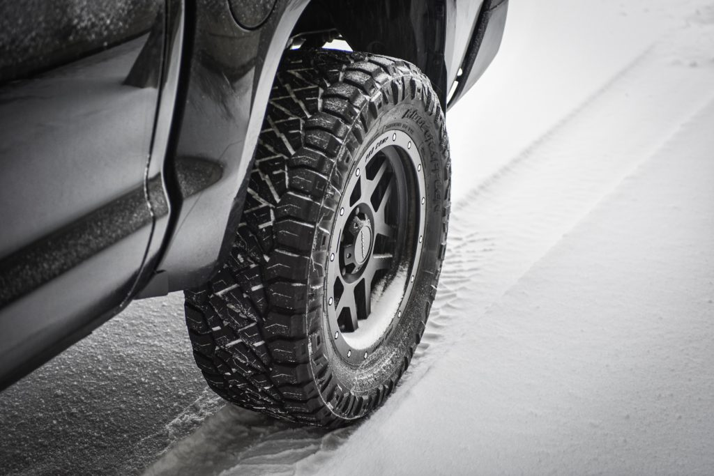 Car tires in snow